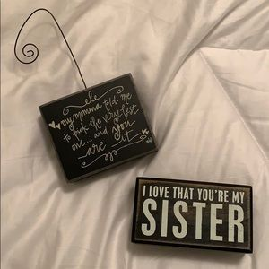 2 Wood Block Signs (Bundle): Significant other/sis